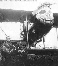 "Belgian ""Death's Head"" Nacelle Farman 40. The Farman F.40 was a French pusher biplane reconnaissance aircraft. Death/skull nose art."