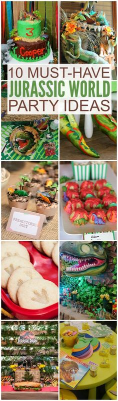 10 must-have Jurassic World party ideas, great for your dinosaur birthday party! Dessert and cake ideas, decorations, party activities, party favors, and more! | CatchMyParty.com