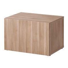BESTÅ Open kast met deur - Lappviken grijs gelazuurd walnootpatroon - IKEA