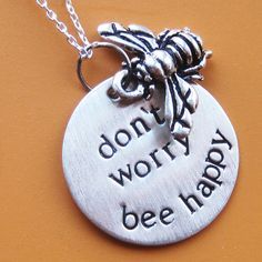 Dont Worry Bee Happy Necklace by sudlow on Etsy, $40.00