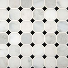 """Greecian White 2"""" Octagon With Black 5/8x5/8 Polished In 12x12 Mesh"""