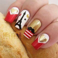 Pretty Paris nail art by Lily-Jane Verezen - Nailpolis: Museum of Nail Art Paris Nail Art, Paris Nails, Love Nails, Pretty Nails, My Nails, Europe Nails, Nails For Kids, French Tip Nails, Cute Nail Designs