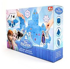 Disney Frozen Play Sand Set for Kids - Build Blue Coloured Kinetic Magic Sandbox Kit with Moulds & Tray - 1lb Castle Super Box Playset by Slammer -- Awesome products selected by Anna Churchill