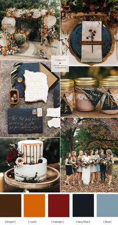Fall boho wedding ideas, fall floral bohemian wedding with shabby chic and rusti. - About Wedding Autumn wedding colour combos 2019 In Shades of Autumn { Rust + Brown + Navy Blue + Blue autumn } Colour + Mix and match bridesmaid dresses Wedding Color Combinations, Fall Wedding Colors, Wedding Color Schemes, Color Combos, Wedding Colour Palettes, Poppy Red Wedding, Blue Orange Weddings, Navy Blue Wedding Theme, Bridesmaid Dress Colors