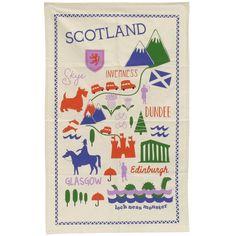 Scottish map tea towel