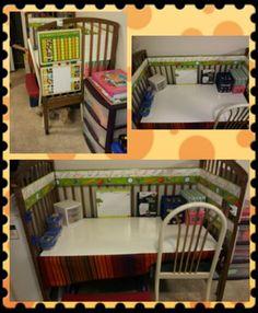 Old crib into desk