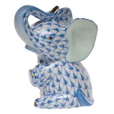 """Herend Hand Painted Porcelain Figurine """"Baby Elephant"""" Blue Fishnet Gold Accents."""