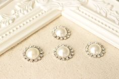 Ivory Rhinestone Pearl Push Pins Pearl by fluteofthehour on Etsy