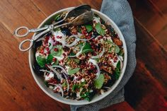 Fried Eggplant Salad With Lentils, Pomegranate & Yoghurt — Farm to Fork - Courtney Roulston Ella Vegan, Eggplant Salad, Brown Lentils, Serving Platters, Pomegranate, Fork, Fries, Vegetarian, Granada