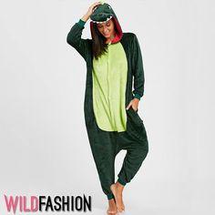 Dinosaur Animal Onesie Pajama - Green S Pijamas Onesie, Onesie Pajamas, Pajama Shirt, Cheap Clothes Online, Online Clothing Stores, Women's Clothing, Dinosaur Outfit, Fleece Patterns, Girl Clothing