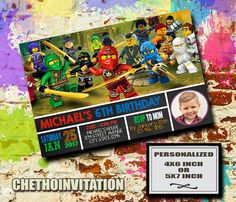 NINJAGO LEGO BIRTHDAY INVITATION This is digital file, Proof file invitation will send by your email etsy account or email you want. You responbility to printing, I am design service only! I will personalize the card with your information, send it to you, you can print it or you can