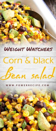 This black bean salad is healthy, fresh and colourful, and includes a very tasty lime dressing. It's super easy to make, and perfect for picnics or packed lunches… Corn Bean Salsa, Black Bean Corn Salad, Black Bean Salsa, Bean Salad, Black Beans, Weight Watchers Salat, Weight Watchers Meals, Pasta Fagioli Recipe, Grape Salad