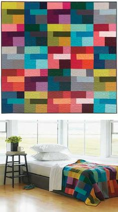 Keepsake Quilting:  COLORED HAPPY quilt with Kona Solids 60X60