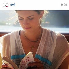 #regram from @dvf of Allison Williams looking radiant in her lemlem patio dress reading Diane's new book. #spotted #lemlem