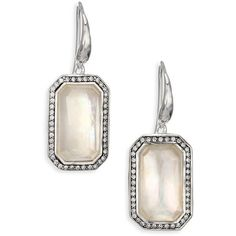 From the Stella Collection. A doublet of quartz and mother-of-pearl dangles with soft, white shimmer in a delicate frame of diamond pave and upon a sterling si…