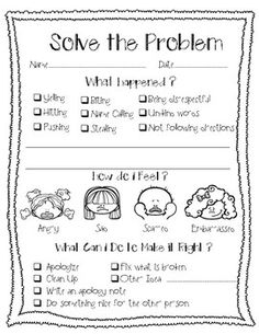 Solve the Problem Behavior Reflection Sheet