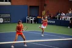 Martina Hingis and Daniela Hantuchova during their first round doubles loss. It was a great effort, but the Italian pair were simply too good today ; ) It was great seeing Martina back in WTA play!