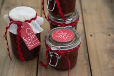 The joy of giving - Christmas treats to make at www.annabel-langbein.com Jam Jar Labels, Jam Label, Canning Labels, Dip Recipes, Dessert Recipes, Christmas Treats To Make, Xmas Bells, Chilli Jam, Packaging Ideas
