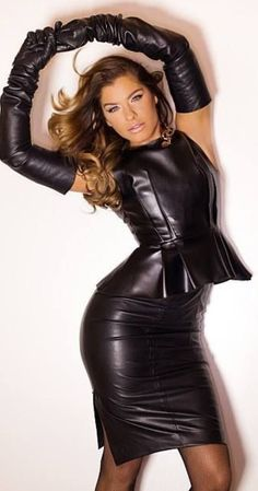 leather peplum top and leather skirt
