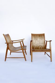 Jacob Müller; Ash and Maple Adjustable 'Ronco' Armchairs for Wohnhilfe, 1950s.