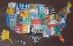 US map made from old license plates.