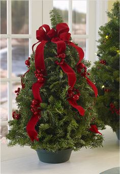 I want to do this with those great smelling rosemary plants cut to look like trees!  That will smell so good in the house and be pretty too!  :)