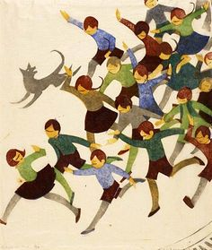 """Ethel Spowers, """"Schools is Out"""" print, 1936. Linocut on japanese paper."""