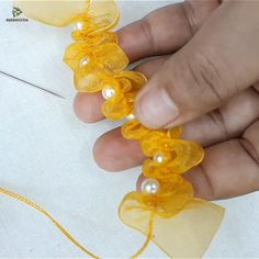 Pin by Nakshi Katha on Embroidery Video [Video] Diy Lace Ribbon Flowers, Making Fabric Flowers, Diy Ribbon, Ribbon Crafts, Flower Crafts, Flower Making, Hand Embroidery Videos, Bead Embroidery Patterns, Hand Embroidery Flowers