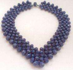 Maxi colar entrelaçado de cristais lilás