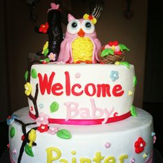Owl themed welcome baby cake