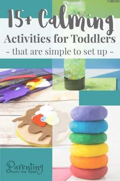 When your toddler gives up naps and mom simply needs some quiet time, these calming activities from Parenting from the Heart are great! Some are done with the parent, but most are for independent play. You'll find lots of great ideas that your kids will enjoy, they are easy to set up, and there are lots of opportunities for learning through play! #kidsactivities #toddlers #parenting #calmingactivities #sensoryplay #kids #momlife Quiet Toddler Activities, Calming Activities, Activities For 2 Year Olds, Indoor Activities For Kids, Toddler Play, Sensory Activities, Infant Activities, Toddler Preschool, Preschool Activities