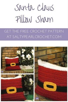 Find the free, beginner friendly Santa Pillow Sham crochet pattern from Salty Pearl Crochet! Crochet Santa, Crochet Home, Crochet Crafts, Crochet Projects, Free Crochet, Crochet Christmas, Crochet Ideas, Beach Crochet, Irish Crochet