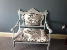 Return to glory.....Shutter Grey milk paint and new toile upholstery.