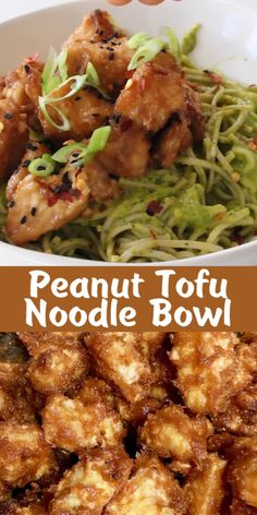Air fried peanut tofu bowl with soba noodles in a raw mango avocado sauce. Crispy caramelized edges and soft center piled up over the most luscious tropical noodles. Quick, easy and oil free! Peanut Sauce Noodles, Tofu Noodles, Cooking Videos, Food Videos, Asian Recipes, Keto Recipes, Vegan Recepies, Clean Eating, Healthy Eating