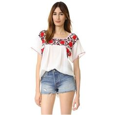 Nili Lotan Embroidered Spanish Top ($355) ❤ liked on Polyvore featuring tops, blouses, embroidered blouses, short sleeve tops, white embroidered top, white blouses and gauze tops
