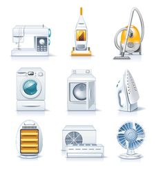 Set of home appliances. Household items for sale and shopping ...