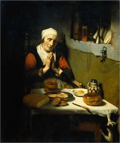 Nicolaes Maes (Dutch painter, 1634-1693), Old Woman at Prayer