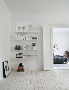Perfectly Minimal Apartment In Sweden #homedecor #interiordesign #bookshelf #whitewoodfloors