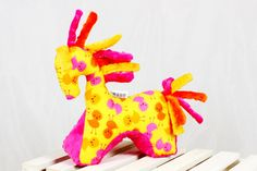 Sensory Toy Horse Chickens Yellow Mascot Newborn Gift by NuvaArt