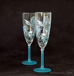 Wedding Champagne Glasses Hand Painted in Aqua by NevenaArtGlass