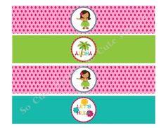Luau Hula Girl Digital Water Bottle Label DIY Hot Pink Lime Turquoise
