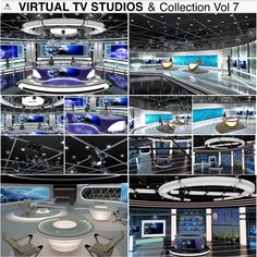 3D virtual tv studio news sets