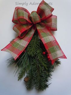 Logde Plaid Christmas Bow Red Green by SimplyAdornmentsss on Etsy