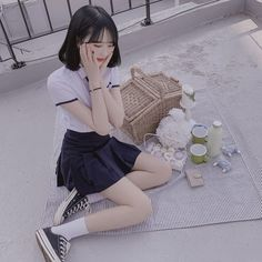 Asian Woman, Asian Girl, Cute School Uniforms, Selfies, Cute Japanese, Japanese School, Ulzzang Fashion, Beautiful Asian Women, Sport Girl