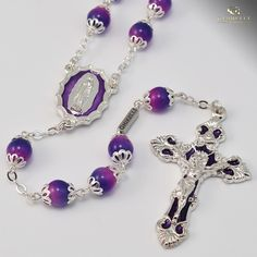 "Lourdes silver plated rosary, 8 mm Bohemian glass beads, ""Immaculate Conception"" Centerpiece and Baroque style Crucifix with hand-enameled inserts, © Ghirelli Branch Necklace, Floral Necklace, Star Necklace, Leaf Jewelry, Fine Jewelry, Jewellery, Our Lady Of Lourdes, Everyday Necklace, Key Pendant"
