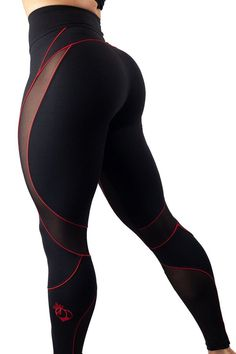 Bootyqueen VIXEN Legging-Black/Red fashion gym wear yoga leggings crossfit apparel brands running pants women walmart yoga pants with pockets target Crop Top And Leggings, Mesh Leggings, Leggings Fashion, Black Leggings, Women's Leggings, Leggings Store, Printed Leggings, Cheap Leggings, Workout Outfits
