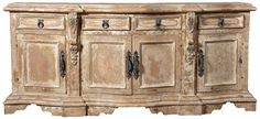 Hand crafted long buffet with lots of room 86 x x 42 can also be customized to any size. Inspired by Mediterranean Rustic Decor made by Peruvian artisans Tuscan Furniture, Rustic Furniture, Bedroom Furniture Makeover, Furniture Redo, Painting Furniture, Doll Furniture, Luxury Home Decor, Unique Home Decor, Modern Rustic Homes