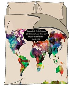 Custom bedding duvet cover amber grunge world map by redbeauty custom bedding duvet cover colorful world map with or without inspiration phrase psalm 108 gumiabroncs Image collections