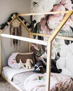 Toddler Girl Bedroom, sleeping moon pillow, Big Girl Room Ideas, Montessori Bedroom Decor, floral wall paper, Boho girls Rooms #toddler #girlbedroom #decor #baby #biggirlroom