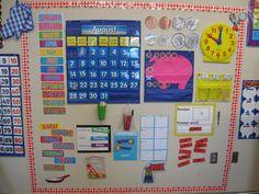 What the Teacher Wants!: Calendar Kindergarten Classroom Decor, First Grade Classroom, 1st Grade Math, Classroom Organization, Grade 1, Classroom Ideas, Second Grade, Kindergarten Calendar Activities, Seasonal Classrooms